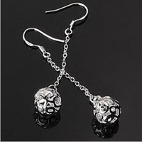 Wholesale Long Silver Ball Earrings For Women Hollow Out Pendant Sterling Silver Earrings For Wedding Couple
