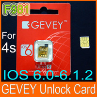 Wholesale Real F981 Chip GEVEY ULTRA S Unlock sim card for iphone s ios BB3 GSM W reset sim