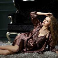 Wholesale CPAM Free Sexy Nobility Women Silk Pajamas Sleepwear Nightclothes Nightgown Sleepshirts Robes M XXL