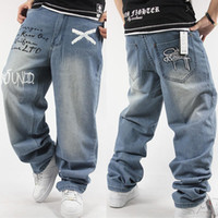 Wholesale Men s clothing plus size hiphop jeans hiphop hip hop clothes rhino water wash blue loose