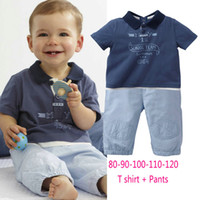 Wholesale children summer boys cute knitted lapel ribbed shirt trousers sets set dandys