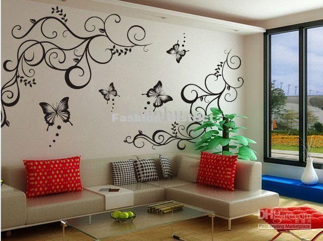 Butterfly Vine Decoration Flower Vinly Wall Art Sticker