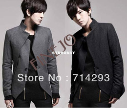 Wholesale 2013 Men s leisure fashion Cool Slim Suit Top Single Breasted Jacket black grey M XXL free shippi