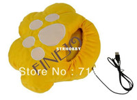 Wholesale Yellow Cat pad Cute Plush USB Electric Heated Slipper Foot Warmer Shoes