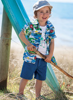 Wholesale children summer boys hawaiian coconut shirt t shirt shorts pants suit set dandys