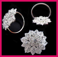 Other african napkins - 40mm Ring Flower Rhinestone Napkin Ring For Wedding Table Decoration