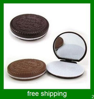 Wholesale Chocolate cream biscuit Double side folding make up mirror folding mirror