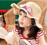 Cheap 2-4years girls Beach sun hat cap hat fashion environmental protection straw hat little cap flowers