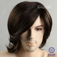 Wholesale Male Glamorous Charming fashion black wave Fiber Synthetic Wig Hair High quality H9107Z