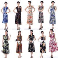 mid dress - 23 multicolored milk silk ladies dress sexy V neck L XXXL large size floral mid calf long dress