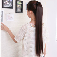 Dark Brown Straight Wrap Pony 70cm super long straight high quality synthetic hair ponytails 4colors hairpieces