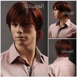 Wholesale male Glamorous Charming fashion brown straight Fiber Synthetic Wig Hair High quality H9109Z