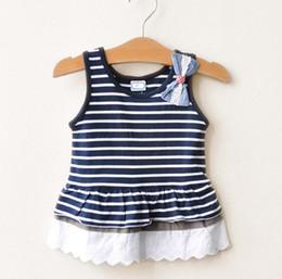 Girls Navy Bows Vest Dresses Sleeveless Dresses Children's Clothing