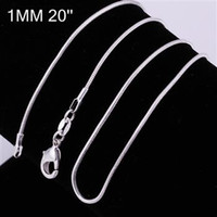 Wholesale 1MM to inches Sterling Silver plated cute fashion Snake Chain Necklace jewelry hot sale Fit pendant