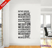 Wholesale Family House Rules stickers wall Decal Removable Art Vinyl Decor Home Kids cm