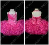 Wholesale Halter Top Little Rosie Cupcake Dress Lovely Little Rosie hot pink Glitz Toddler Pageant Dress OX582