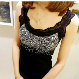 Wholesale colors New Hot Ladies lace beaded Cotton Tank Tops Vest T shirt