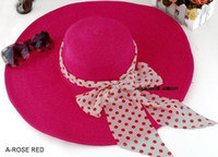 Wholesale Ladies Beach Straw Hats Wide Brim Hats Sunshade Women s hats Multicolor Optional