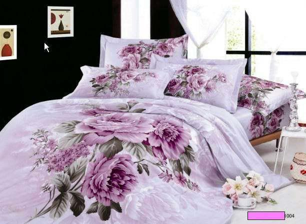 Purple Lilac Floral Bedding Comforter Set King Queen Size