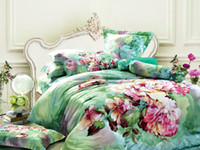 Wholesale Green floral bedding comforter set sets queen king size duvet cover bedspread sheets bed in a bag sheet quilt linen cotton