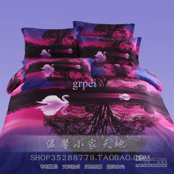 3d purple pink blue swan lake comforter bedding set sets - Purple and pink comforter sets ...