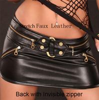 Wholesale freeship Wet pvc look Black Faux Leather Mini dress Gothic Fetish lingerie Bondage skirt one siz