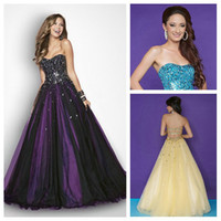 Wholesale New Black and Light Purple Tulle Sweetheart Beaded Ball Gown Beautiful Long Prom Dresses