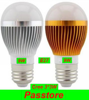 Wholesale 9W LED Bulb Bulbs Globe Light Dimmable Cree W E27 V LED Downlight Spotlight Lamp SALE