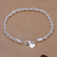 Wholesale Square Rope - best Quality Charm 925 Sterling silver fashion Square Noble Rope chain Bracelet jewelry H207