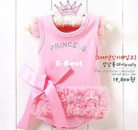Wholesale retail Retail cute fashion Baby romper Girl s Wear The lovely princess pink bow lace Romper baby clo