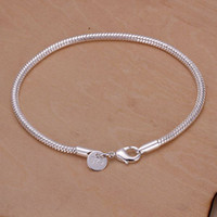 Wholesale best Quality Charm sterling silver fashion Square Noble MM snake chain Bracelet jewelry H187