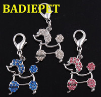 Wholesale Mix3Colors High Quality Crystal Poodles Dog Pendant Charm Pet Accessory Pet Product Dog Collar Decoration Dog Tag
