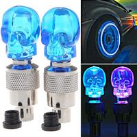 Wholesale 2 x Skull Valve Cap Light Wheel Tyre Lamp for Car Motorbike Bike Assorted Color