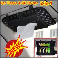 Wholesale Car Auto Sunshade Tissue Box Holder Paper Napkin Clip CD DVD Case Bag Pack Organizer Pocket Storage
