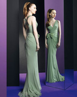 Reference Images V-Neck Chiffon Zuhair Murad 2013 New Arrival Green V-Neckline Sheath Bowknot Hollow Pleated Bodice Prom dress 107s