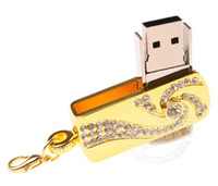 Wholesale Hot sale a Full Capacity GB Golden crystal USB Flash Memory Drive Stick