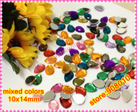 Wholesale droplet Acrylic Rhinestones Mixed Colors Tearshape Plastic Beads x14mm