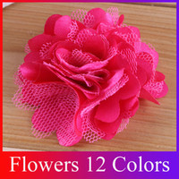 Wholesale Mini Satin Mesh Shabby Flowers Frilly Chiffon Flowers Chic Baby Headband Flower HB40