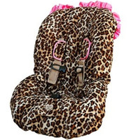 Wholesale leopard with hot pink satin ruffules baby car seat cover
