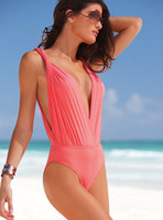 Wholesale Racerback One Piece Swimsuit Sexy Monokini Bikini Top Womens Swinsuit Swimdress Swimwear Pink