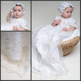 Wholesale White Real Silk Christening Gown Short Sleeves High Collar A Line Long Lace Christening Dress