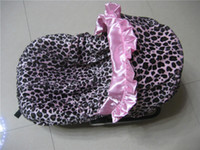 Wholesale baby car seat cover leopard with light pink infant with canopy soft