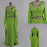 Wholesale Hot V neck Long Sleeves Embroidery Beaded A Line Floor Length Green Chiffon Kaftan Evening Dresses