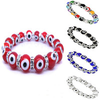 Wholesale Turkey EVIL EYE PROTECTION KABBALAH MURANO GLASS BEAD STRETCH BRACELET CZ Unisex Bracelets mm