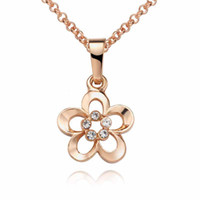 Women's Gold Plate/Fill Halloween Stylish 18K Rose Gold plated Necklace flower pendant with Diamond necklace 18inch 20pcs