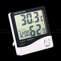Wholesale New in LCD Digital Thermometer Temperature Humidity Meter Clock Hygrometer Thermometer lo