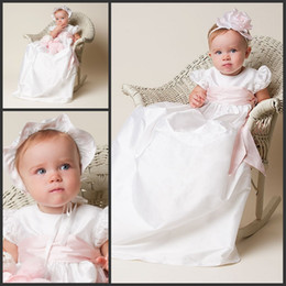 Wholesale Lovely White Real Silk Christening Gowns A Line Long Length Pink Sash Bow Baby Girl Dress With A Hat