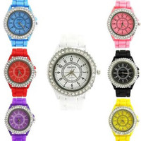 Wholesale 50pcs Fashion Geneva Crystal Diamond Jelly Silicone Watch Unisex Men s Women s Quartz Candy Watches