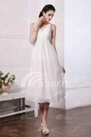 Model Pictures Chiffon V-Neck Custom Made! Modern V-neck A-line Bridesmaid Dresses Ruched Appliques Tea-length Homecoming Dresses