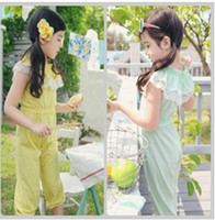 Wholesale Summer girl s Jumpsuits one piece trousers Green Yellow
